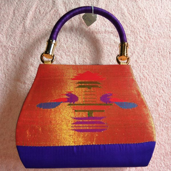 Pure paithani medium hand bag