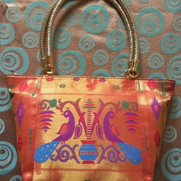 Semi paithani big bag with handle