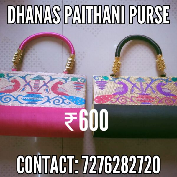 Semi paithani medium size handbag2