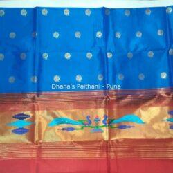 Sky blue_Semi_Paithani_Kurti Material